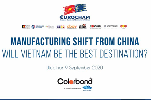 "COLORBOND® steel co-operates with EuroCham to organize webinar with ""Manufacturing shift from China. Will Vietnam be the best destination?"""